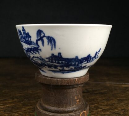 Very Rare Worcester teabowl, '2 Swan Precipice' printed pattern, c. 1757-60-14971