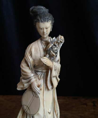 Ivory figure of a lady with fan & peony rose, Chinese c.1900-15007
