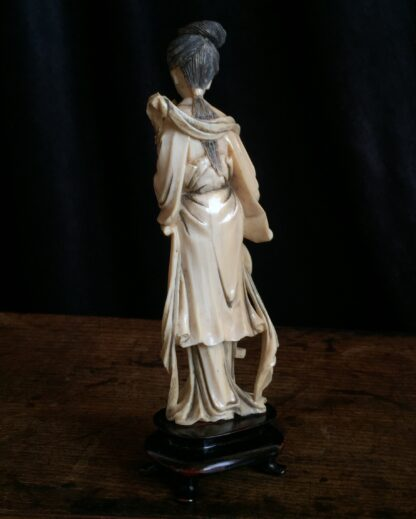 Ivory figure of a lady with fan & peony rose, Chinese c.1900-15009