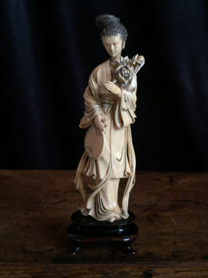 Ivory figure of a lady with fan & peony rose, Chinese c.1900-0