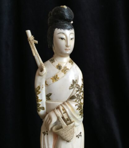 Chinese ivory girl with bird catcher, circa 1900 -15018
