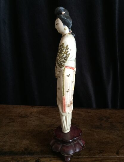 Chinese ivory girl with bird catcher, circa 1900 -15019