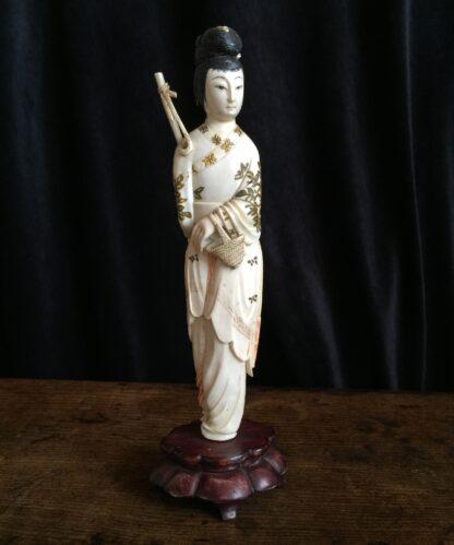 Chinese ivory girl with bird catcher, circa 1900 -0
