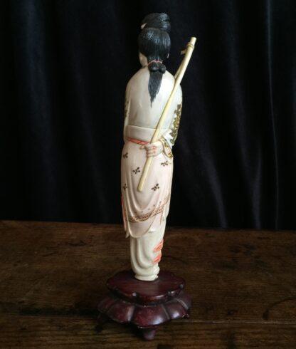 Chinese ivory girl with bird catcher, circa 1900 -15022