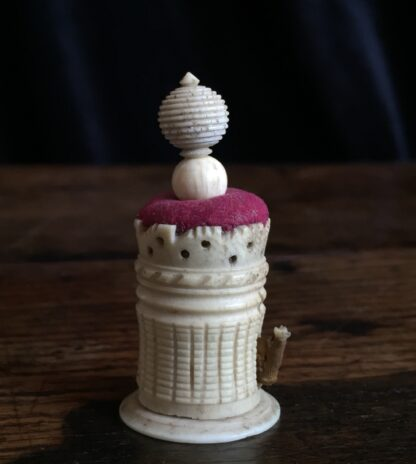 Ivory winding tape with pin cushion, Chinese 19th century-15027