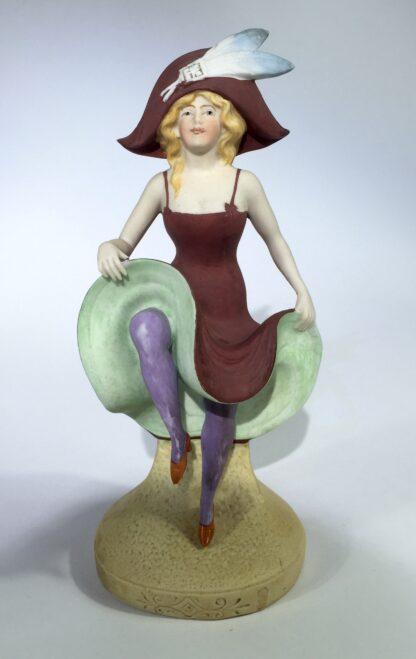 German bisque porcelain figure of a dancing lady, c. 1910-0