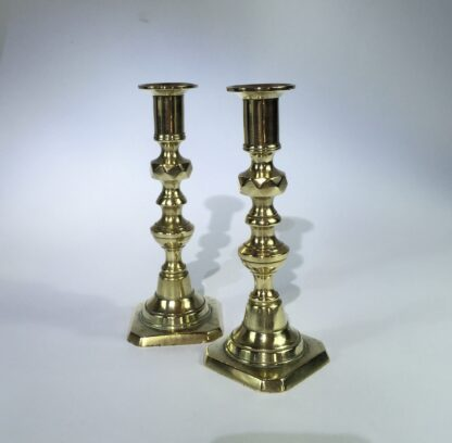 Pair of rare small brass Victorian candlesticks, c. 1870-15094