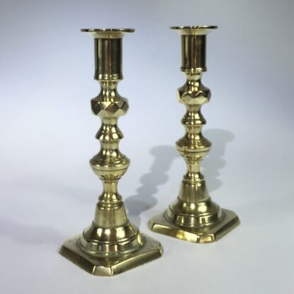 Pair of rare small brass Victorian candlesticks, c. 1870-0