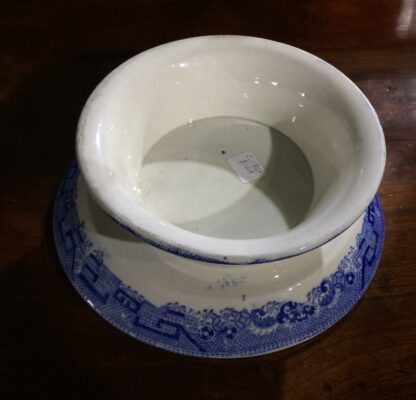Victorian pottery Willow Pattern cake stand, circa 1860-15136