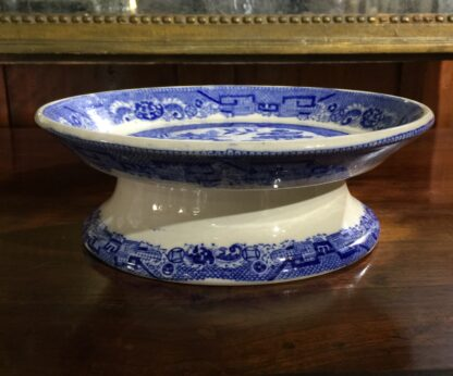 Victorian pottery Willow Pattern cake stand, circa 1860-15137