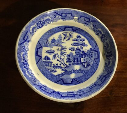 Victorian pottery Willow Pattern cake stand, circa 1860-15139