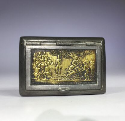 German Pewter & Brass snuffbox with Frederick the Great & his Grenadiers, c. 1780-0