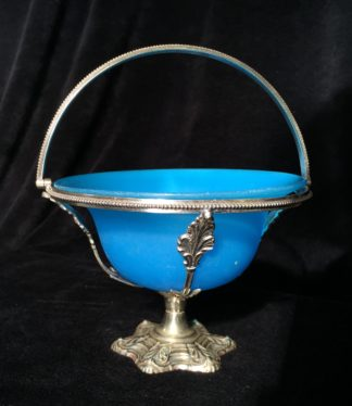 Victorian plated serving basket with blue glass insert, c.1890-0