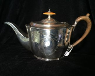 Sterling silver teapot, hallmarked London 1795 with ivory knob and family crest -0