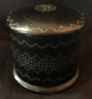 Victorian paper mache lidded box with pewter inlay, c. 1860 -0