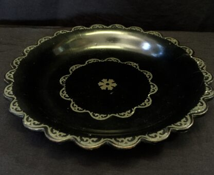 Victorian paper mache coaster with pewter inlay, c. 1860-0