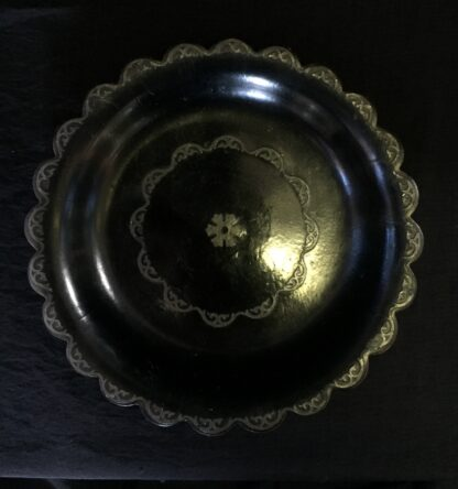 Victorian paper mache coaster with pewter inlay, c. 1860-15244