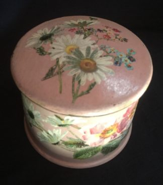 Victorian paper mache lidded box decorated with flowers painted on a pink ground, c. 1860-0