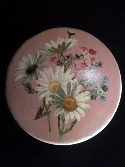 Victorian paper mache lidded box decorated with flowers painted on a pink ground, c. 1860-15248