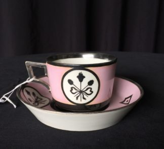 Vienna cup & saucer, classical motifs in silver on pink, 1807-0