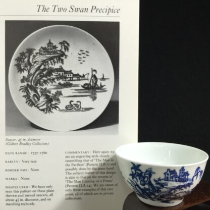 Very Rare Worcester teabowl, '2 Swan Precipice' printed pattern, c. 1757-60-15541