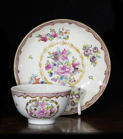 Worcester coffee cup & saucer, export pattern, c.1780-0