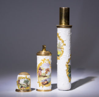 Rare Staffordshire enamel bodkin case with thimble & perfume flask, c. 1770-0