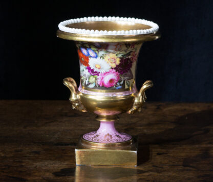Minton urn with panel of flowers by Steel, Swansea style c. 1825-0