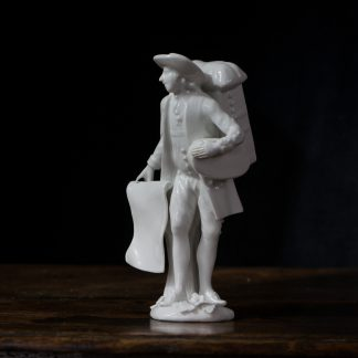 Meissen figure of the 'Print Seller', in the white, c.1750-0