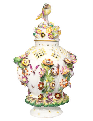 Derby potpourri vase, faces , flowers & insects, circa 1765 -0
