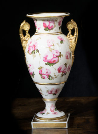 Swansea style vase, roses, probably Coalport c. 1820-0