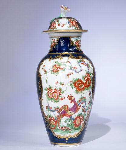 Worcester scale blue oviform vase, 'Jabberwocky' pattern, c. 1765-0
