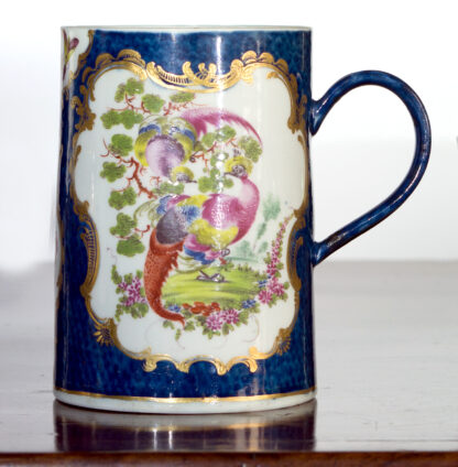 Large Worcester scale blue tankard with birds, c.1770-0