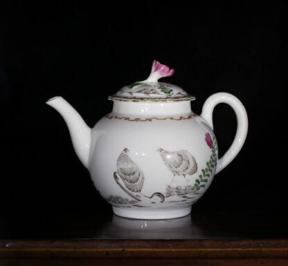 Worcester teapot with 'Pencilled Quail' pattern, c. 1778-0