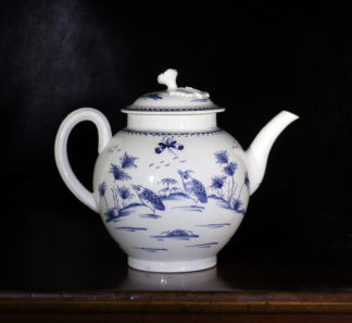 Worcester blue & white teapot, 'Two Quail' pattern, c.1770-0