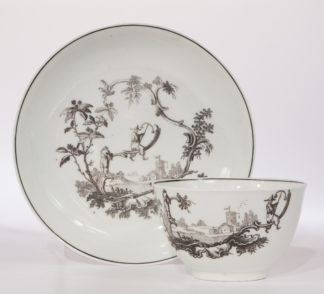 Worcester teabowl & saucer, printed with 'Les Garcons Chinois', c.1760-0