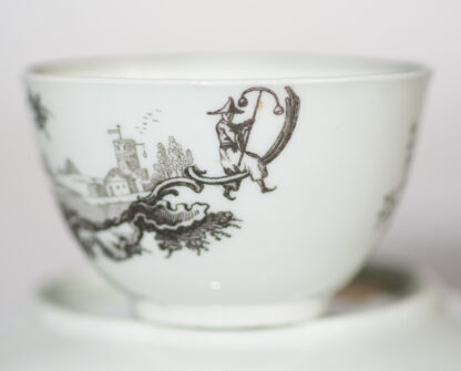 Worcester teabowl & saucer, printed with 'Les Garcons Chinois', c.1760-15716