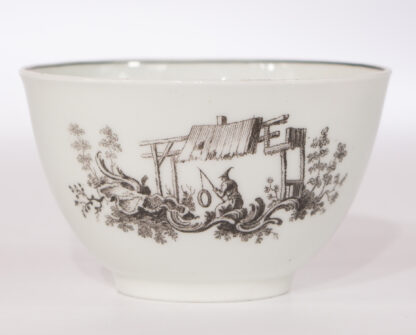 Worcester teabowl & saucer, printed with 'Les Garcons Chinois', c.1760-15714