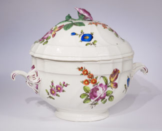 Large Vienna tureen, rococo fluted form with flowers, c. 1770-0