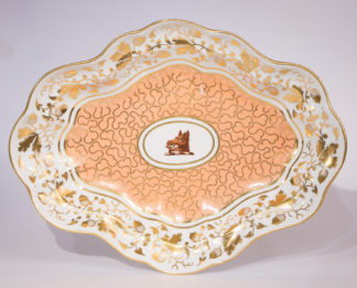 Chamberlains Worcester oval armorial dish, boars head, c.1795-0