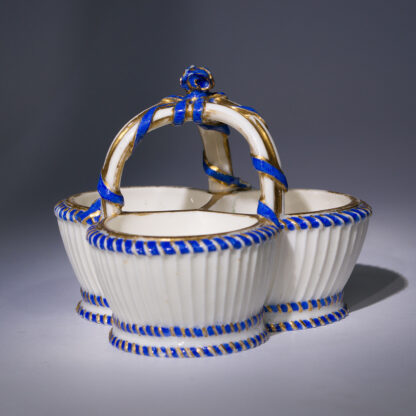 Sèvres triple salt, basket form with flowers, c.1775-0