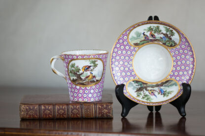Sevres socketed cup & saucer with birds by Chappuis, 1765-15581