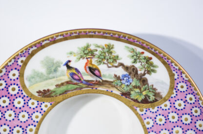 Sevres socketed cup & saucer with birds by Chappuis, 1765-15580
