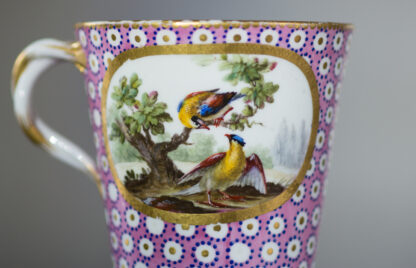 Sevres socketed cup & saucer with birds by Chappuis, 1765-15584