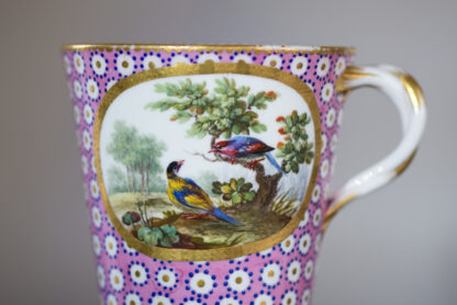 Sevres socketed cup & saucer with birds by Chappuis, 1765-15583