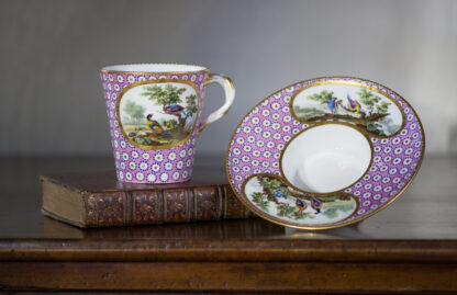 Sevres socketed cup & saucer with birds by Chappuis, 1765-0