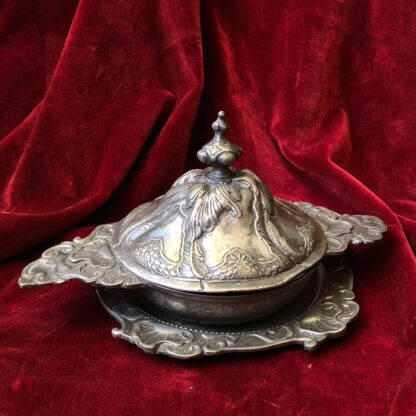 Polish pewter rococo form covered bowl & stand, c.1745-30934