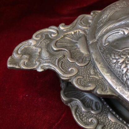 Polish pewter rococo form covered bowl & stand, c.1745-30939