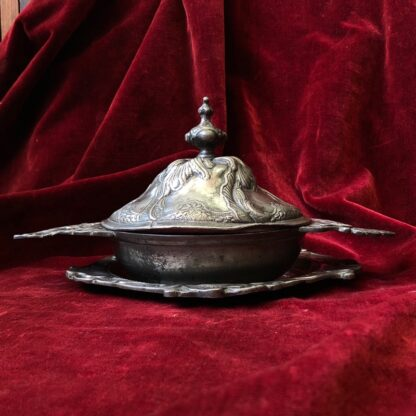 Polish pewter rococo form covered bowl & stand, c.1745-30938