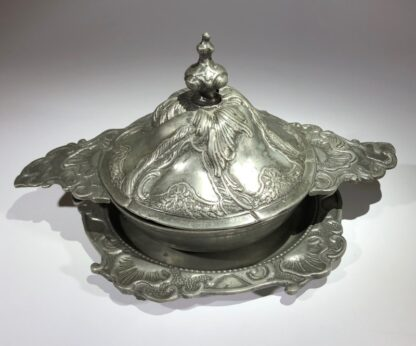 Polish pewter rococo form covered bowl & stand, c.1745-30931
